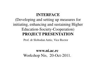 ni .ac.rc Workshop Nis , 20 -Oct- 2011.