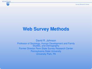 Web Survey Methods