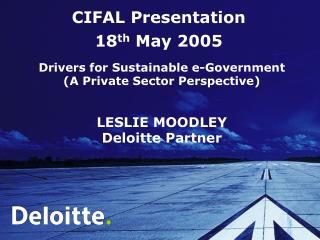 CIFAL Presentation  18 th  May 2005