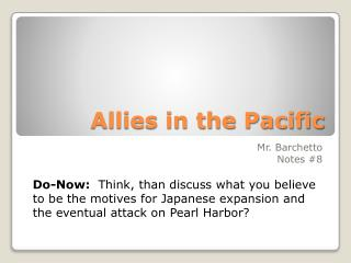 Allies in the Pacific