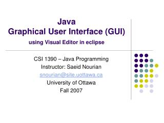 Java  Graphical User Interface GUI using Visual Editor in eclipse