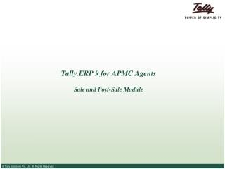 Tally.ERP 9 for APMC Agents