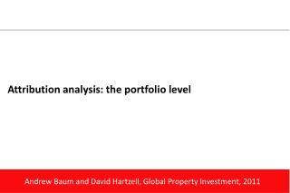 Attribution analysis: the portfolio level