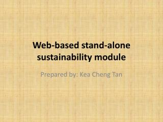 Web-based stand-alone sustainability module