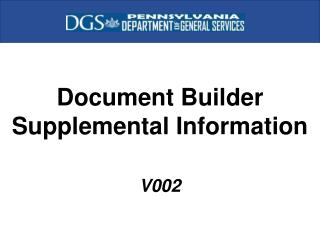 Document Builder Supplemental Information V002