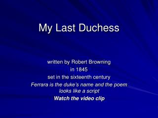 an analysis of robert brownings my last duchess