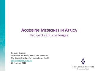 Accessing Medicines in Africa Prospects and challenges