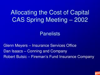 Allocating the Cost of Capital CAS Spring Meeting – 2002 Panelists