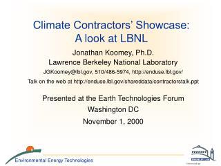 Climate Contractors' Showcase: A look at LBNL