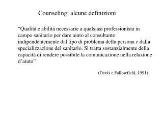 Counseling: alcune definizioni