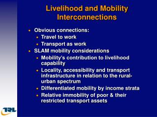 Livelihood and Mobility Interconnections