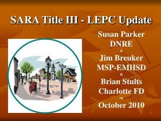 SARA Title III - LEPC Update