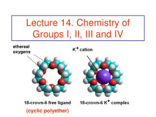 Lecture 14. Chemistry of Groups I, II, III and IV