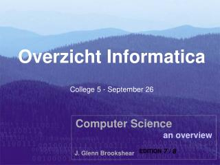 Overzicht Informatica College 5 - September 26