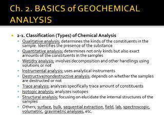Ch. 2. BASICS of GEOCHEMICAL ANALYSIS