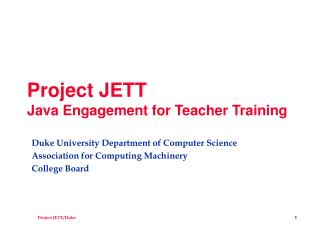 Project JETT Java Engagement for Teacher Training