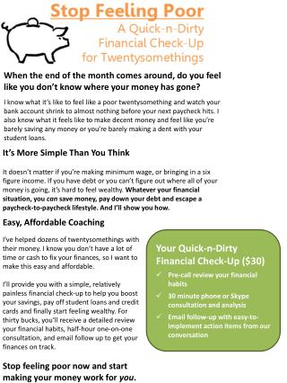 Your Quick-n-Dirty Financial Check-Up ($30) Pre-call review your  financial  habits