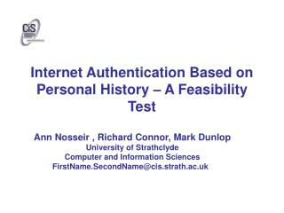 Internet Authentication Based on Personal History – A Feasibility Test