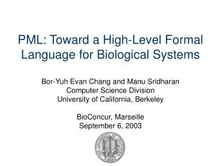 PML: Toward a High-Level Formal Language for Biological Systems