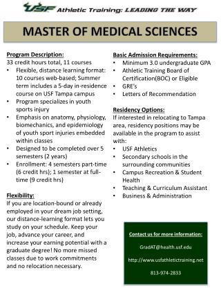 Program Description: 33 credit hours total, 11 courses