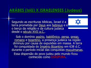 ARÁBES (Islã) X ISRAELENSES (Judeus)