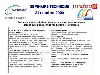 SEMINAIRE TECHNIQUE 21 octobre 2009