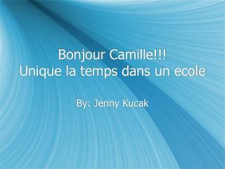 Bonjour Camille!!!  Unique la temps dans un ecole