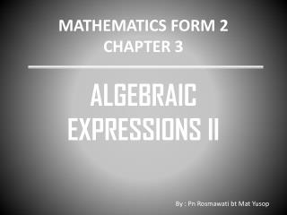 MATHEMATICS FORM 2 CHAPTER 3