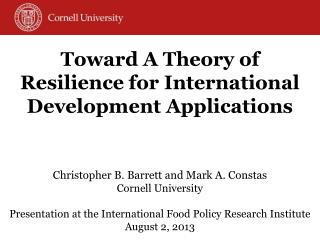 Toward A Theory of Resilience for International Development Applications