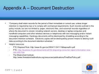 Appendix A – Document Destruction