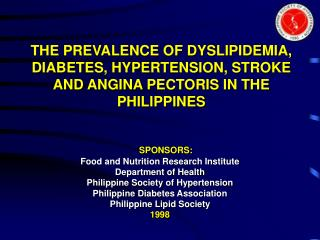 SPONSORS: Food and Nutrition Research Institute Department of Health