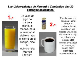 Las Universidades de Harvard y Cambridge dan 20 consejos saludables: