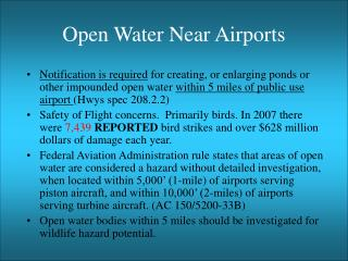 Open Water Near Airports