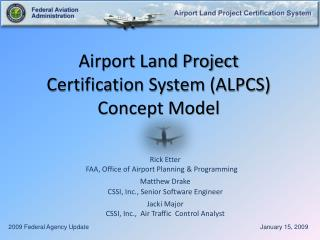 Airport Land Project  Certification System (ALPCS) Concept Model