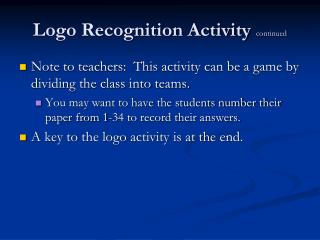 Logo Recognition Activity  continued