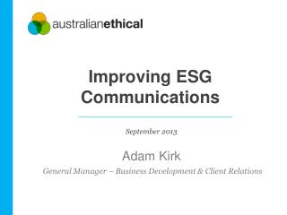 Improving  ESG  Communications