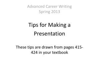 Advanced Career Writing Spring 2013