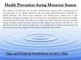 Health Precaution during Monsoon Season