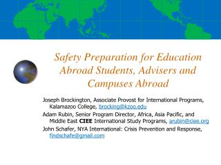 Safety Preparation for Education Abroad Students, Advisers and  Campuses Abroad