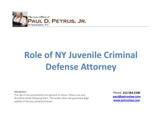 Role of NY Juvenile Criminal Defense Attorney