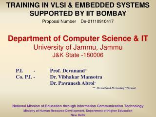 Department of Computer Science &  IT  University of Jammu, Jammu J&K State -180006