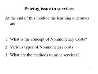 Pricing issue in services