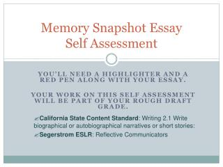 Memory Snapshot Essay  Self Assessment