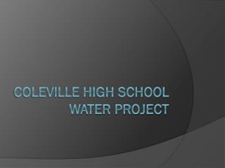 Coleville High School Water Project