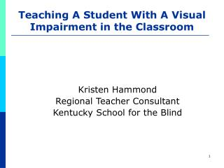Teaching A Student With A Visual Impairment in the Classroom