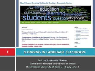 BLOGGING IN LANGUAGE CLASSROOM