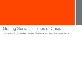 Getting Social in Times of Crisis