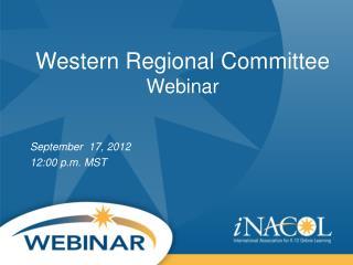 Western Regional Committee Webinar