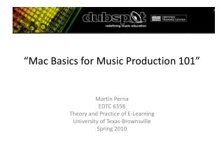 """Mac Basics for Music Production 101"""