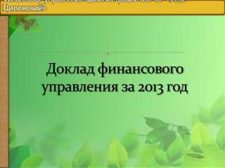 Доклад финансового управления за 2013 год